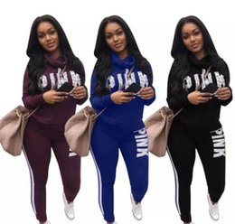 Discount camp pants - S-3XL Woman Sportswear Letter PINK Print Sweatshirt + Pants Two-piece Set Women Jogging Sport Suit for Ladies Leisure Tr