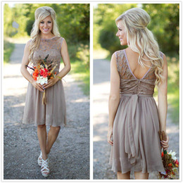 Discount lighted zipper - Brown Chiffon Short Country Bridesmaid Dresses Sheer Lace Top Knee Length A Line Short Wedding Guest Party Dresses