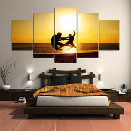 Art Canvas Prints Australia - HD Print Framework 5 Panels People On The Beach Landscape Canvas Paintings Wall Art Poster For Living Room Cuadros Modular Picture