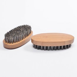 Military tools online shopping - New Boar Hair Bristle Beard Mustache Brush Military Hard Round Wood Handle Anti static Peach Comb Hairdressing Tool for Men
