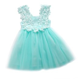 $enCountryForm.capitalKeyWord UK - Cute Baby Girl Dress Princess Party Sleeveless Dress Pearl Lace Tulle Flower Backless Gown Fancy Dress For Age 2-7Y