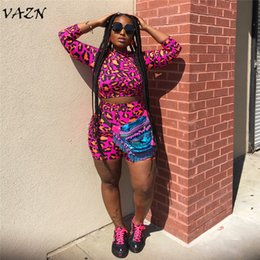 $enCountryForm.capitalKeyWord NZ - VAZN 2018 Hot Sale Exotic Designer Sexy 2 piece Women Set Leopard Loose Full Sleeve Elasticity Short Pants Women Set P-0519