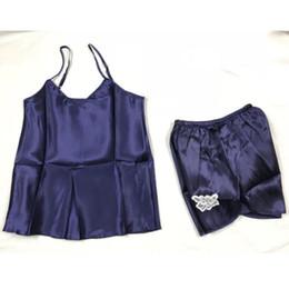 dfab07b04c Frauen-Dame Sexy Lace Sleepwear Satin Nightwear Lingerie Pyjamas Sleeveless  Shirt Shorts Sommer Anzug Kleidung Set