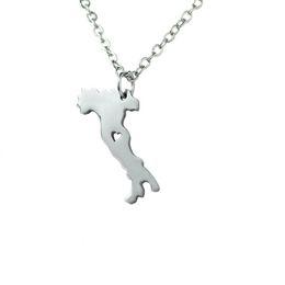 $enCountryForm.capitalKeyWord UK - 10pcs lot Italy Map Charm Necklace State Shaped I Heart Italy Necklace Home Charm Necklace Stainless Steel