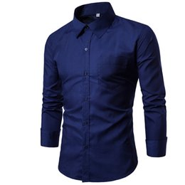 Wholesale men black dress shirt pink for sale – dress Men Shirt colors Solid Black Dress Shirt Long Sleeve Slim Fit Camisa Masculina Casual Male Hawaiian Shirts Xxxl