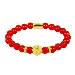 $enCountryForm.capitalKeyWord UK - 8mm Natural Red Crystal Onyx Semi Precious Stone Beads Rose Gold Silver Color Lion Head Charm Spacer Standard Bracelets For Man