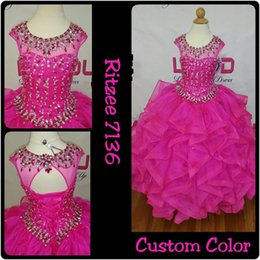 $enCountryForm.capitalKeyWord NZ - Ruffles Girls Pageant Dresses 2019 Beaded Rhinestones Fuchsia Girls Prom Party Dance Gowns Lace Up Back Real Pictures Ballgown Ritzee