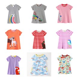 dresses horse prints Canada - Baby Girls A-line Dresses 100% Cotton Striped Rainbow Aircraft Dinosaur Flora Animal Bird Horse Printed Appliqued Short Sleeve Skirt 1-6T
