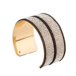 Rhinestone Sports NZ - Instagram hipster fashion black chain high quality temperament rhinestones open bracelet jewelry wholesale