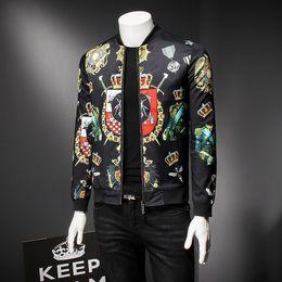 2623fc83a2598 Black Gold Floral Print Social UK Club Party Jacket Men Business Casual Prom  Party Outfit Men Hip Hop Bomber Jackets Men Plus 5xl