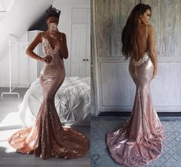 $enCountryForm.capitalKeyWord Australia - 2018 Bling Rose Gold Mermaid Sequined Prom Dresses Spaghetti Straps Lace Beaded Sweep Train Backless V Neck Sexy Evening Wear Party Gowns