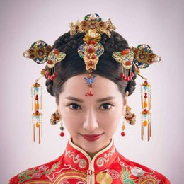Wholesale AINILIDAN Chinese Style Classical Wedding Jewelry Sets Bridal Headdress Hair Accessories Gold Color Crystal Hairpins Earrings
