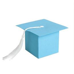 Wholesale Gift Boxes For Chocolates UK - ALIM HOT 25Pcs DIY Paper Graduation Cap Shaped Gift Box Sugar Chocolate Box for Graduation Party Favor Cap Bachelor Hat Weddin