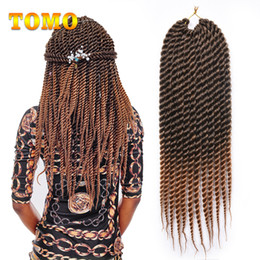 Yellow Hair Extensions Australia - TOMO Braided Havana Mambo Twist 12 18Inch Braiding Hair Extensions Pure Mixed Brown Gray Ombre Synthetic Fiber Crochet Braids 12 roots pack