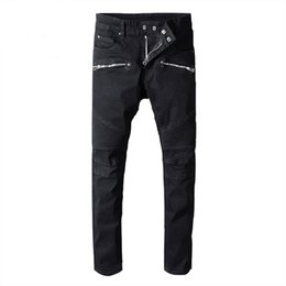 China Designer Hole Men balmain Jeans Classic Straight Jeans Wash Cowboy Slim Denim Trousers Skinny Pants Casual Mens Ripped Jean Motorcycle Jeans cheap jeans washing style suppliers