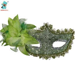 China High Quality Party Mask Green Sexy Venetian Lace Feather Ball Masquerade Mask Paillette Flower Party Eye Masks 3PCS cheap feathers masquerade ball suppliers