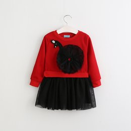 wholesale girls christmas dress UK - Autumn Long Sleeve Girls Dress 2018 New Casual Style Girls Clothes Tulle Cartoon Swan Embroidery Dress for Kids Clothes