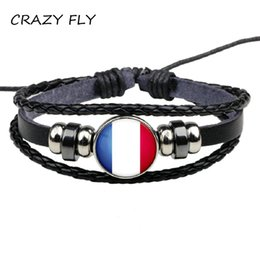 Discount france glasses - CRAZY FLY 2018 France Flag Bangle Glass Picture Leather Bracelet Fashion Jewelry art Gift For Women&Men Vintage Selling