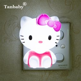 6aa05a89036 Tanbaby Hello Kitty LED Night Light AC220V Cartoon Night Lamp With US Plug  Gifts For Kid Baby Children Bedroom Bedside Lamp