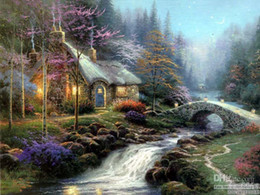 art deco landscape paintings Canada - repro Thomas kinkade Landscape Handpainted  HD Print Wall Art OIL PAINTING deco art On Canvas Multi Custom Size  Frame