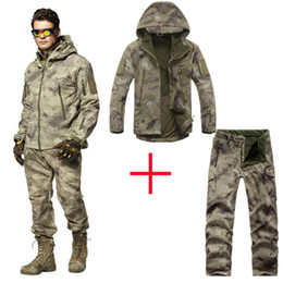 Military Camouflage Clothing NZ - 2019 NEW TAD 4.0 Shark Skin Soft Shell Camouflage Hunting Clothes Suits Outdoor Tactical Military Fleece Jacket+ pants