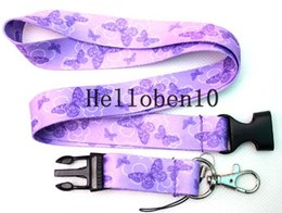 Discount cell phone neck holder - Butterflies Heat Print Neck Lanyard Strap Cell Mobile Phone ID Card Keychain