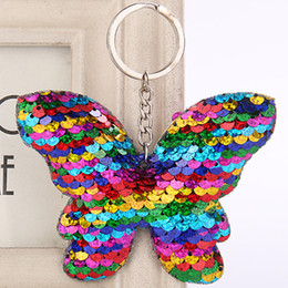 Discount pink glitter butterflies - Butterfly Keychain Glitter Sequins Key Chain Gift for Women Girl Llaveros Mujer Car Bag Accessories Key Ring