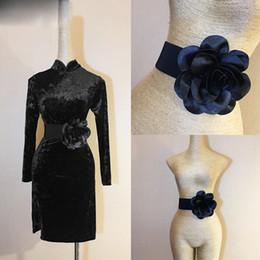 Discount latin accessories - Latin Dance Dress Belt New Accessories Moden Dance Big Black Peony Flower Performance Practice Waist