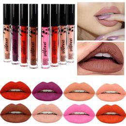 Blue Lipstick Gloss Canada - Popfeel Matte Liquid Lipstick Waterproof Sexy Velvet Lip Gloss Lot Brand Lip Kit long lasting paint lote labial Lipstick