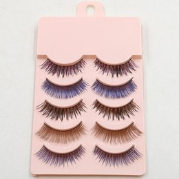colorful false eyelashes wholesale Australia - Newest A-2# Pure Handmade Colorful False Eyelashes Fashion Color Plastic Cotton Stalk Nude Makeup False Eyelashes