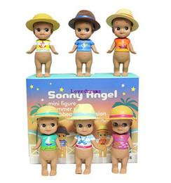 Angels Figures Australia - 6pcs set Sonny Angel Summer series Caribbean Sea version Mini PVC Action Figures Collectible Model Toys Phone Accessories