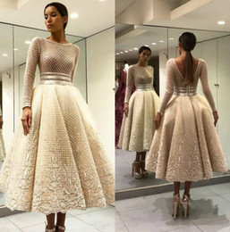 netted line evening gowns UK - Chic Fish Net Prom Dresses Bateau Neck Long Sleeves Beaded Evening Gowns Vestidos De Fiesta Backless Tea Length Special Occasion Dress