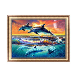 5d diamond UK - Full square round diamond painting Dolphin Sunshine 5D DIY diamond embroidery cross stitch rhinestone mosaic decoration picture gift