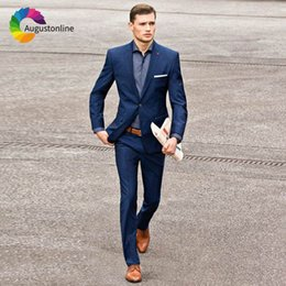 $enCountryForm.capitalKeyWord Australia - Custom Made Navy Blue Men Suits Slim Fit Blazer Smart Casual Street Groom Tuxedos Wedding Suit for Men 2Piece Jacket Pants Terno