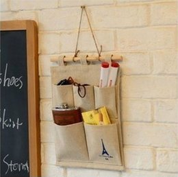 Wall Mount Storage Organizer Canada - Cotton and Linen Storage Iron Tower Five Pockets Door Wall Mounted Home Sundries Clothing Jewelry Closet Organizer Hanging Bag