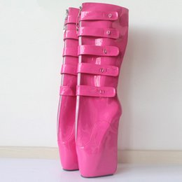 $enCountryForm.capitalKeyWord NZ - Woman Boots 18CM Super High Heel Ballet Boots Wedge Hoof Heelless Sexy Fetish Slave Lockable Knee High Boots For Woman