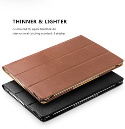 Leather business cases online shopping - multifunctional laptop bag for MacBook air business men fashion design magnetic adsorption stand cover for MacBook air