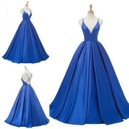 Red Dress V Neck Straps Australia - 2018 Elegant Blue Satin Evening Dresses V Neck Criss Cross Straps Back Floor Length Red Carpet Dresses Prom Gowns