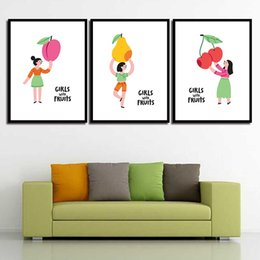 Art Canvas Prints Australia - Painting HD Wall Art Modern Prints Minimalism Girl Fruit Pear Nordic Poster Canvas Pictures Living Room Kids Room Home Decor