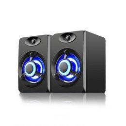 USB com fio alto-falante LED luzes de respiração de computador Bass estéreo música player caixa de som para laptop caderno tablet pc telefone inteligente em Promoção