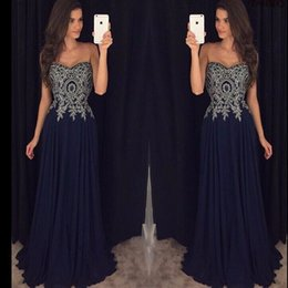 $enCountryForm.capitalKeyWord NZ - Simple Navy Blue Sweetheart Chiffon Prom Dresses Appliques Floral Modest Floor Length 2018 Party Evening Wear For Women Cheap From China