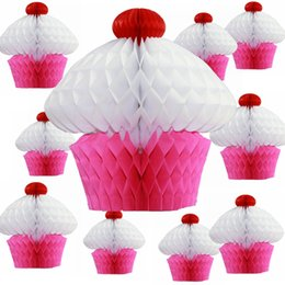 $enCountryForm.capitalKeyWord NZ - 10pc 20cm Tissue Paper Cupcake Honeycombs Kids Birthday Party Decoration Hanging Cupcake Bauble Pendant Summer Garden