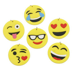Discount free car stuff 2018 QQ Emoji Key Chains Small Keychain Emotion Yellow QQ Expression Stuffed PVC Doll Toy 6 design emoji pvc keyring epa
