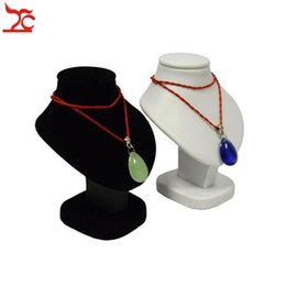 mannequin jewelry displays stand rack UK - Wholesale 7pcs lot Mini Jewelry Display Bust White PU Black Velvet Mannequin Necklace Rack Stand Holder Wooden Pendant Portrait Model