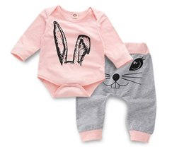 jumpsuits rabbit girl NZ - Baby Rabbit Ear Print Long Sleeve Romper Set Boy Girl Spring and Autumn Jumpsuits Kids Clothes Onesies ZHT 135