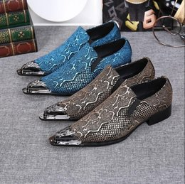 Wedding Shoes Men Blue Australia - Luxury Brand Men Oxfords Shoes Pointed Toe Genuine Leather Dress Party Shoes Bride Wedding Shoes Fashion Blue Flats Shoe
