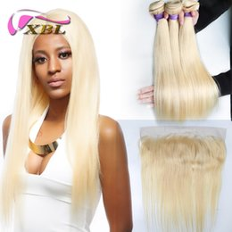 Blonde indian silky hair weft online shopping - xblhair blonde bundles with frontal silky straight human hair bundles wihtin ear to ear lace frontal