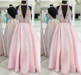 China Cheap Chinese Halter Luxury Prom Dresses High Neck And Deep V Neck Satin Custom Formal Dresses Evening Wear Party Gowns cheap chinese sexy crystal dress suppliers