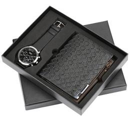 Portamonete con cerniera Portafoglio in pelle nera da uomo + orologio da polso Uomo Luxury Quart Orologi da uomo Portafogli Set regalo per fidanzato maschile