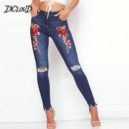 b1ba5d106ff90 DICLODU Fashion Autumn Hole Embroidery Jeans Woman 2018 Sexy Tight Pencil Pants  Ladies Black Blue High Waist Denim Trousers